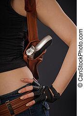 女の子, ベルト, 終わり, 銃, セクシー