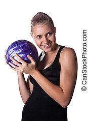 女の子, ボーリング競技者, かなり, ブロンド