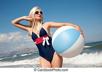 女の子, ボール, の上, ピン, 浜