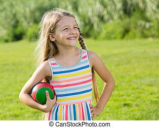 女の子, ボール, 微笑