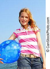 女の子, ボール, 浜, 若い
