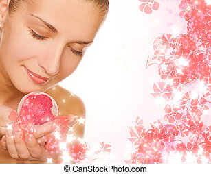女の子, ボール, 浴室, 美しい, 香り