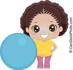 女の子, ボール, 練習, イラスト, 子供