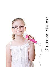 女の子, マイクロフォン