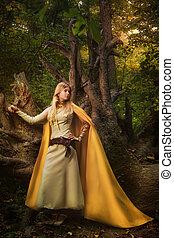 女の子, マジック, 森林, ブロンド
