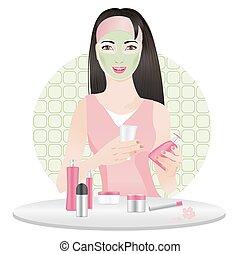 女の子, マスク, 化粧品, 中国語