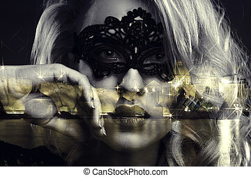 女の子, マスク, 顔つき