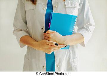 女の子, メモ用紙, ノート。, 保有物, 医者