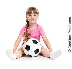 女の子, モデル, ∥で∥, サッカーボール, 隔離された, 白