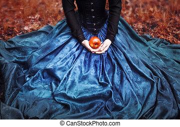 女の子, モデル, ひざ, 雪, 手掛かり, 王女, 熟した, 有名, アップル, 赤, apple., 白