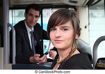 女の子, モデル, 上に, ∥, バス