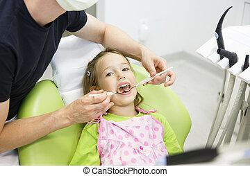 女の子, モデル, 上に, 歯の椅子