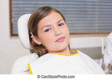 女の子, モデル, 中に, 歯科医