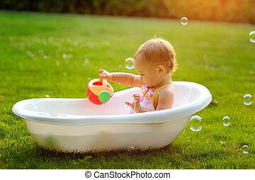 女の子, モデル, 中に, ∥, 浴室