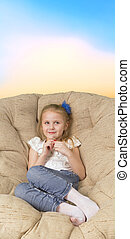 女の子, モデル, 中に, 肘掛け椅子