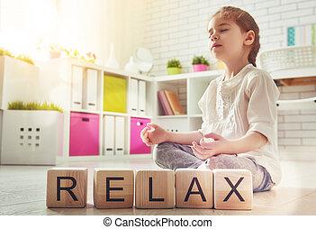 女の子, ヨガ, 練習する