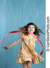 女の子, リボン, ダンス, 上に, テープ, 緑の赤