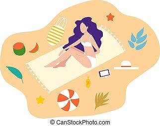 女の子, リラックスしなさい, あること, 女の子, sweemsuit., 浜, 浜。