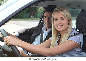 女の子, レッスン, 運転