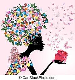 女の子, ロマンチック, 贈り物