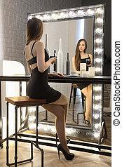 女の子, ワイン, 若い, モデル, ガラス