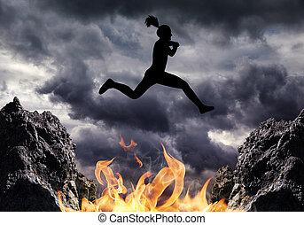 女の子, 上に, シルエット, ジャンプする, fire.