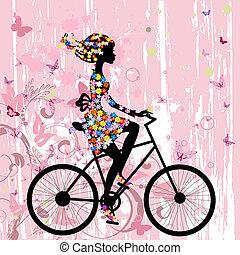 女の子, 上に, 自転車, グランジ, ロマンチック