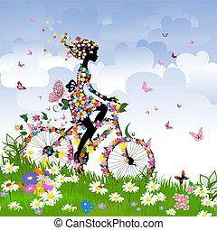 女の子, 上に, 自転車, 屋外で, 中に, 夏