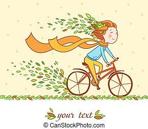 女の子, 上に, 自転車, 秋, 背景