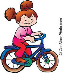 女の子, 上に, ∥, bike.