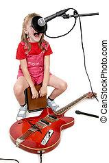 女の子, 中に, オーディオ, スタジオ