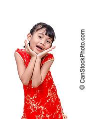 女の子, 中に, 伝統的である, 中国語, 服