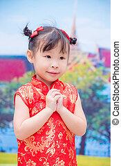 女の子, 中に, 伝統的である, 中国語, 衣装
