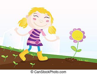 女の子, 中に, 庭