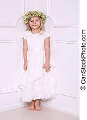 女の子, 中に, 服, ∥で∥, 頭, wreath., 白い背景