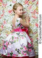 女の子, 中に, 花の服