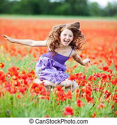 女の子, 中に, 花, フィールド