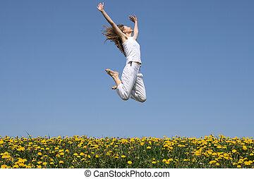 女の子, 中に, a, 幸せ, ジャンプ