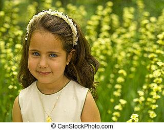 女の子, 中に, a, 花, フィールド