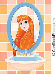 女の子, 中に, a, 鏡