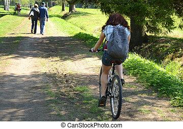 女の子, 乗車, a, 自転車, 上に, 夏, 公園