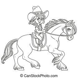 女の子, 乗馬, 隔離された, かわいい, わずかしか, カウボーイ, 馬, スーツ, 白い背景, 概説された