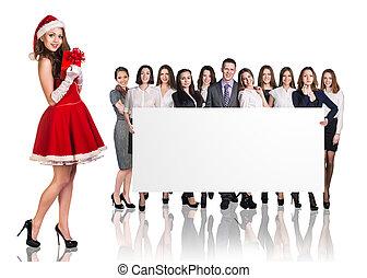 女の子, 人々ビジネス, santa, グループ, 大きい