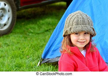 女の子, 休日, キャンプ