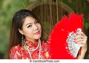 女の子, 伝統的である, アジア人, 中国語, cheongsam, 服, 美しい