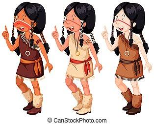 女の子, 伝統的である, アメリカインディアン, 衣装, ネイティブ