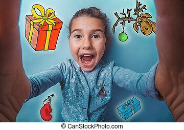 女の子, 作成, 新しい, ミトン, 鹿, クリスマス, selfie, 十代, スケッチ, 写真, 年, 贈り物