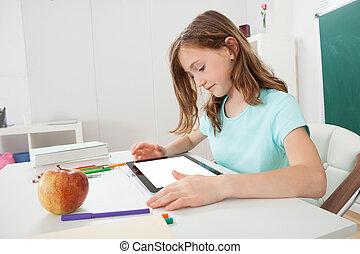 女の子, 使うこと, デジタルタブレット, 中に, 勉強しなさい, 部屋