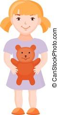 女の子, 保有物, おもちゃ, 熊