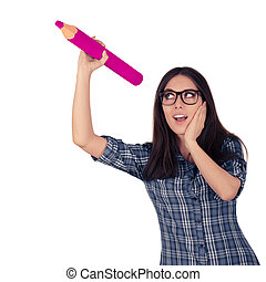 女の子, 保有物, 鉛筆, ピンク, 巨人